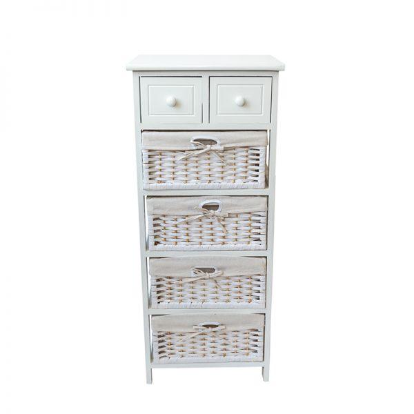 Бял шкаф с 6 чекмеджета, 40*30*95см