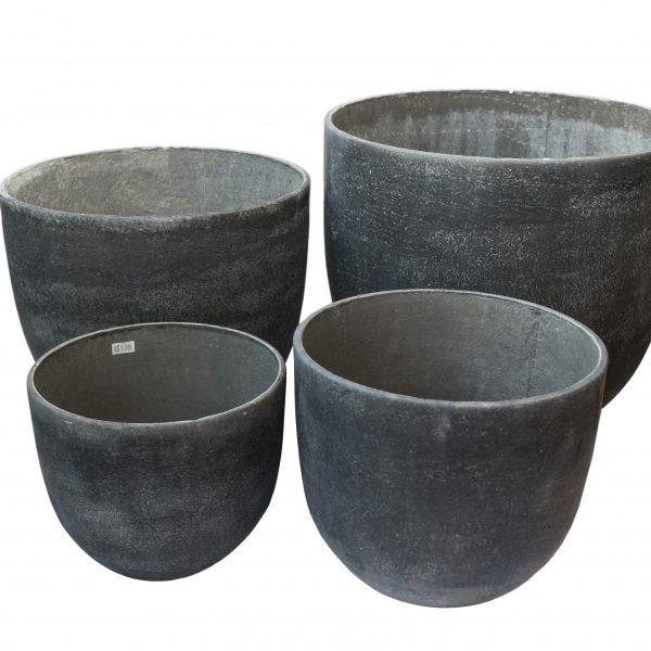 Каменна кашпа в сив цвят, 4 размера