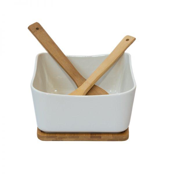 Керамична купа за салата с прибори на дървена поставка, 20,5*10см