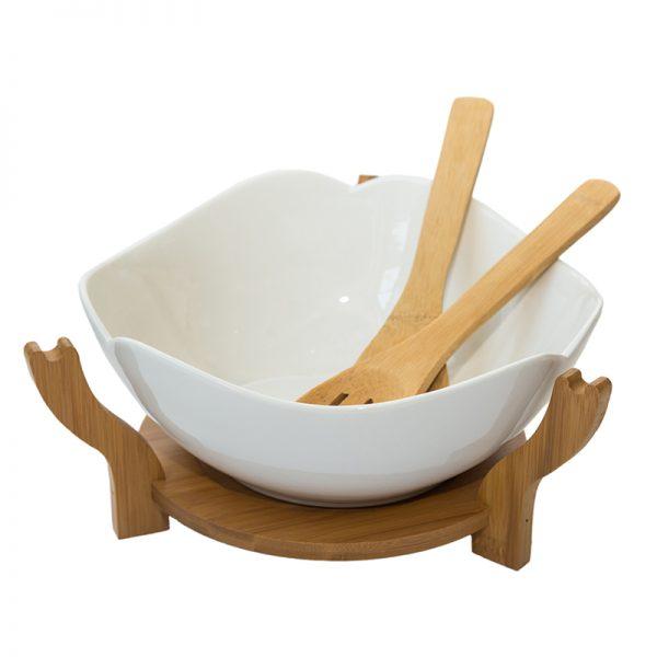 Керамична купа за салата с прибори на дървена поставка, 25*10см