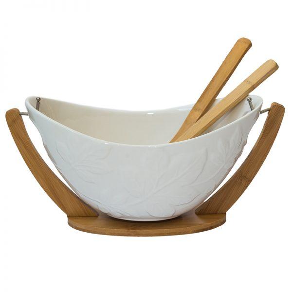 Керамична купа за салата с прибори на дървена поставка, 31,5*12см