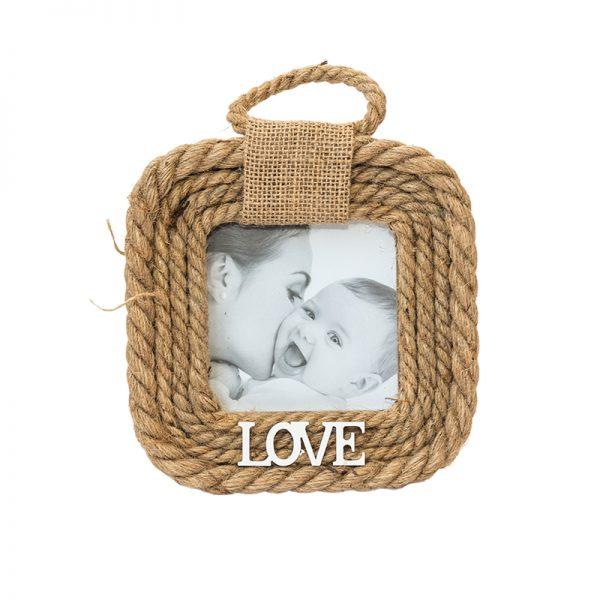 Квадратна рамка за снимки LOVE с конопено въже