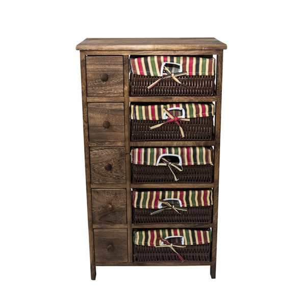Олекотен кафяв шкаф с 10 чекмеджета, 47*30*83см