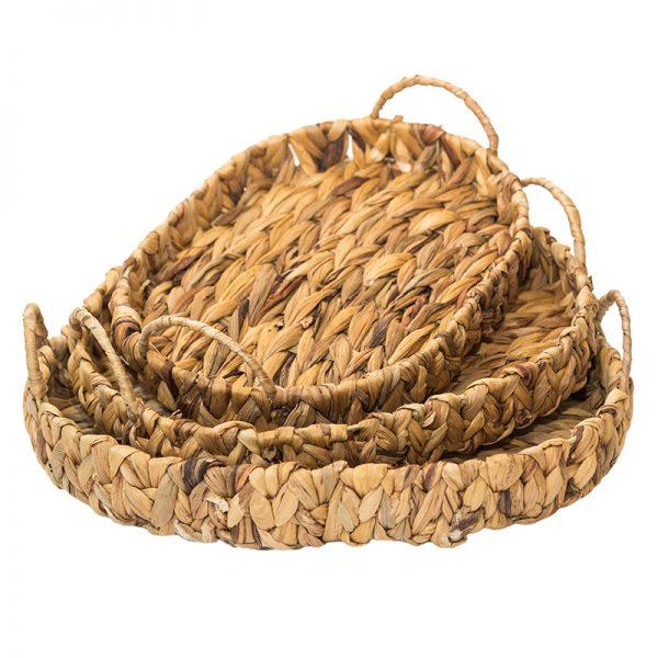 Плетен овален поднос с дръжки в бежов цвят, 3 размера