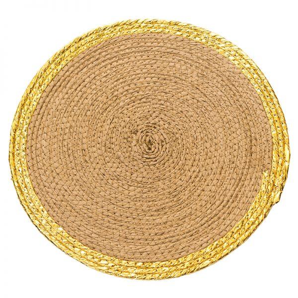 Подложка за хранене със златен кант, 38 см
