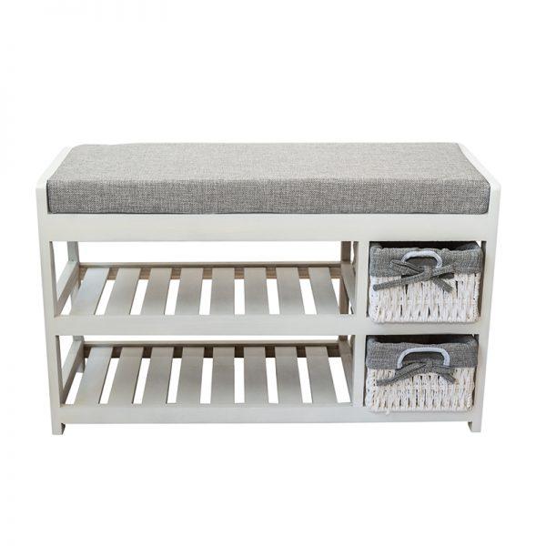 Шкаф - пейка за обувки в бял цвят, 70*28*42см