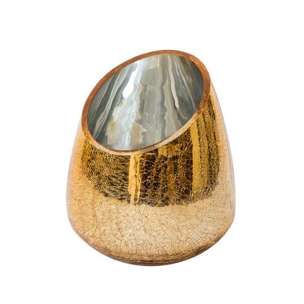 Златна асиметрична ваза, 13*18см